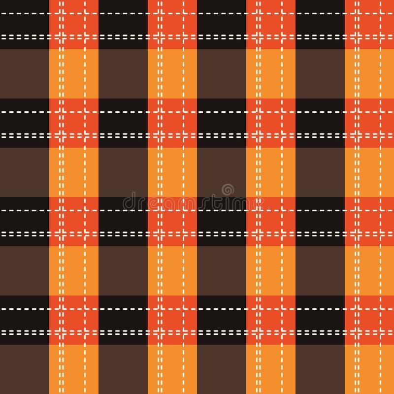 Orange plädmodell för tartan Sömlös bakgrund i varm höstfärg 10 eps royaltyfri illustrationer