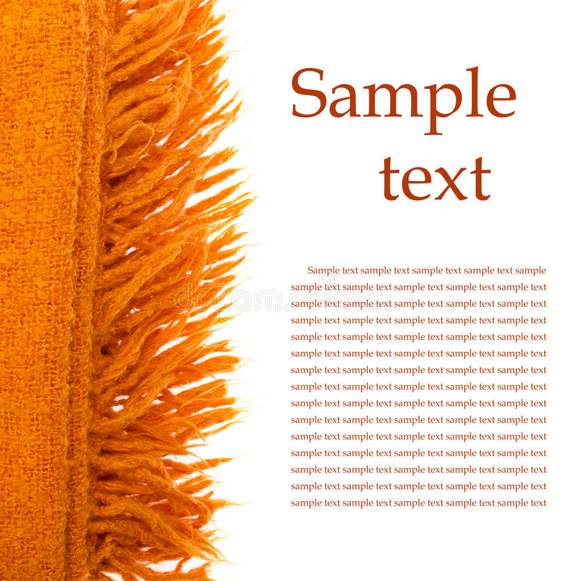 Orange Plaid Wool Over White Royalty Free Stock Image