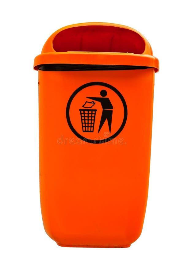 Orange plastic dust bin. royalty free stock photos
