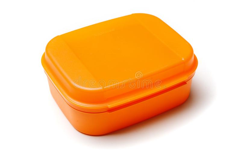 Orange plastic food container isolated on white background.  stock images