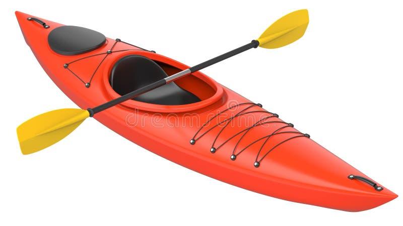 Orange plastic kayak with yellow paddle. 3D render, isolated on white background. Orange plastic kayak with yellow paddle. 3D render, isolated on white royalty free illustration