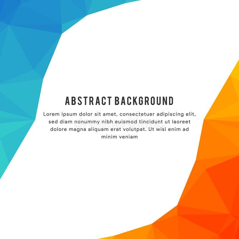 Orange Polygonal bakgrund som är blå och royaltyfri illustrationer