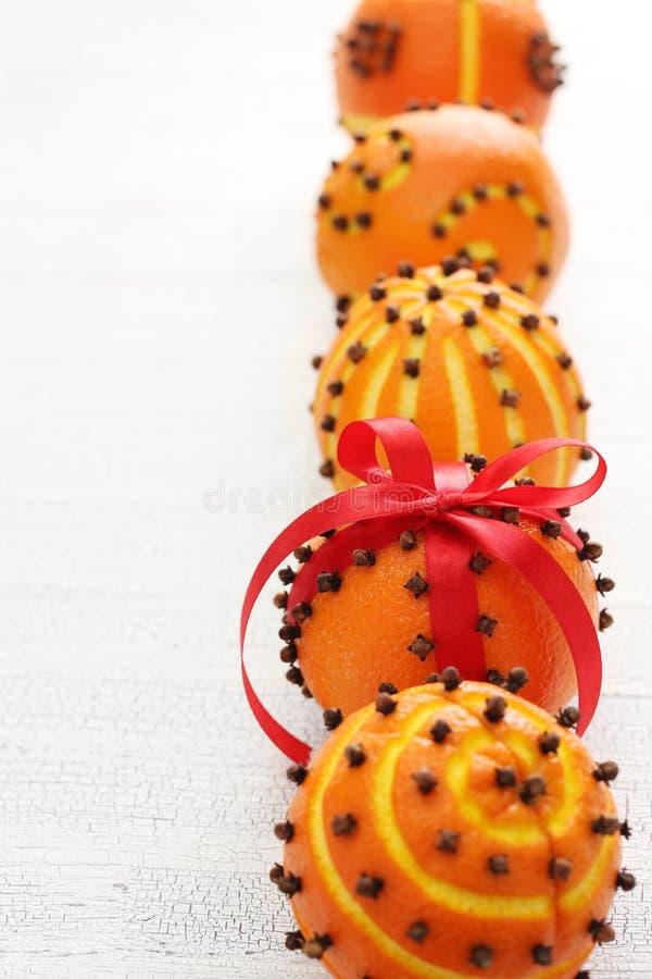 Orange pomanderbollar för kryddnejlika royaltyfri fotografi