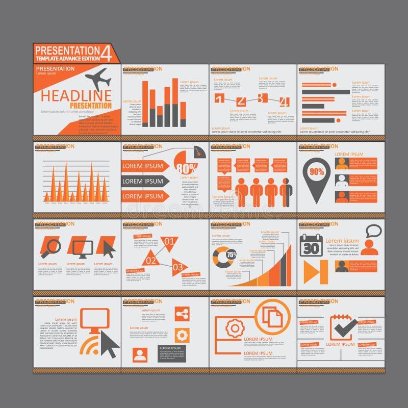 Orange presentation Infographic elements template flat design royalty free illustration