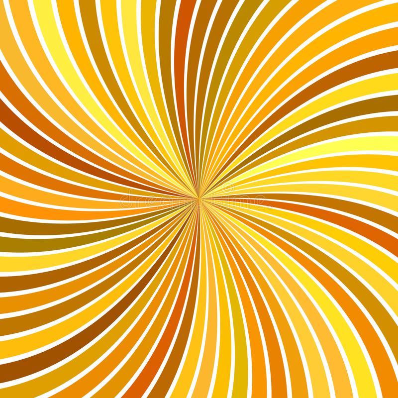 Orange psychedelic abstract spiral stripe background. Vector curved ray burst design royalty free illustration