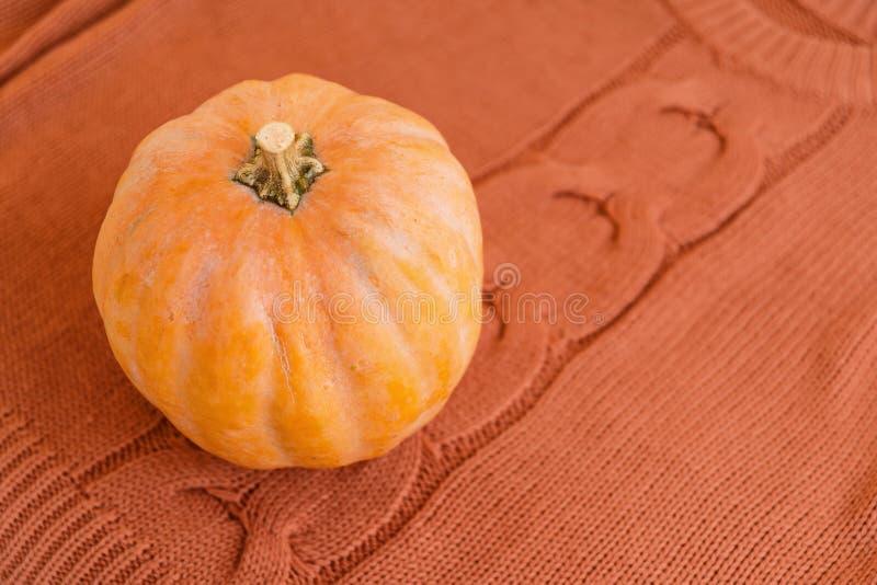 Orange pumpa på bunten av varma vikta tröjor arkivfoto