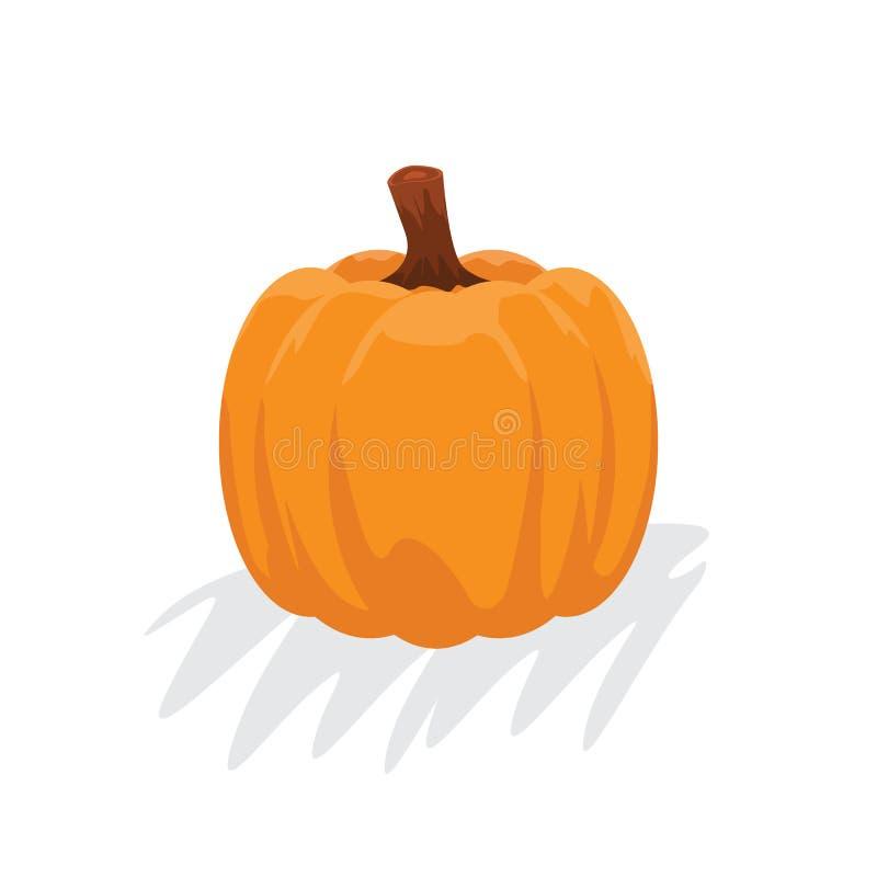 Orange pumpkin with cartoon style. Autumn halloween pumpkin, vegetable graphic icon. Vector illustration. royalty free illustration