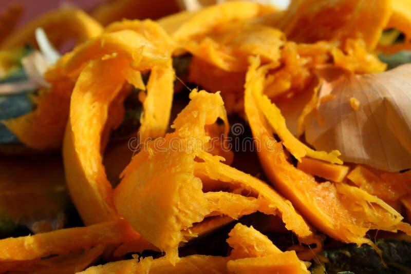 Orange pumpkin food waste scraps royalty free stock photography