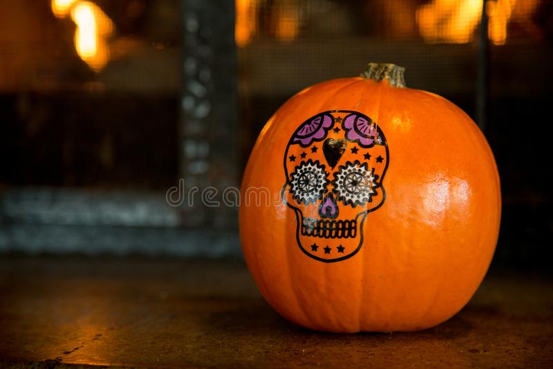 Halloween pumpkin skull drawing dark background stock images