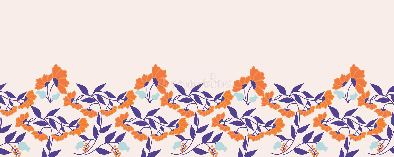 Orange and purple beautiful flowers, in a seamless horizontal border stock illustration