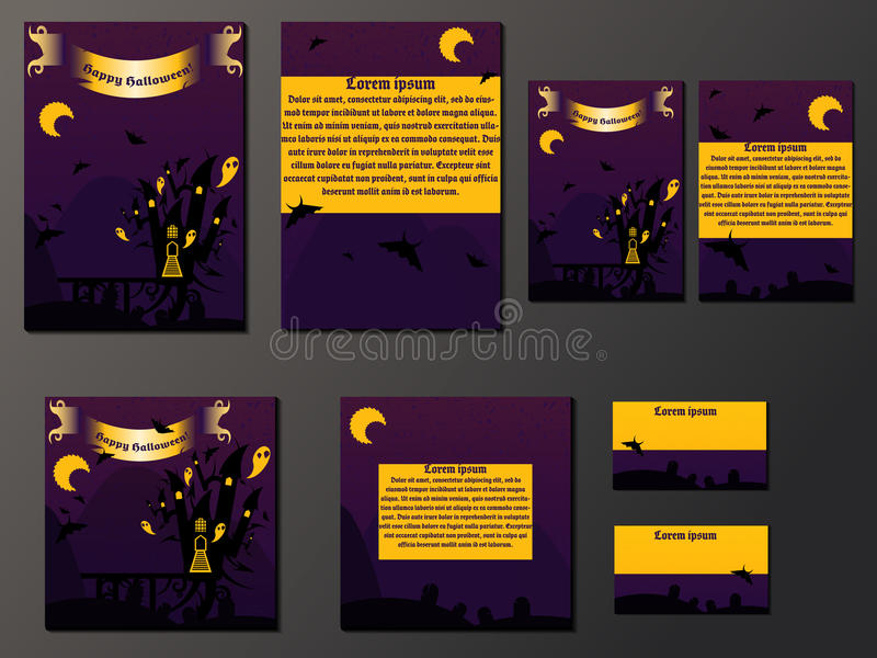 Orange and purple brochures and business cards with halloween castle royalty free illustration