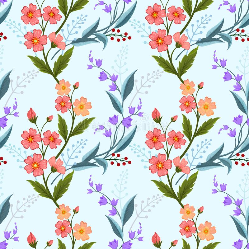 Orange and purple flowers on light blue color seamless pattern. stock illustration