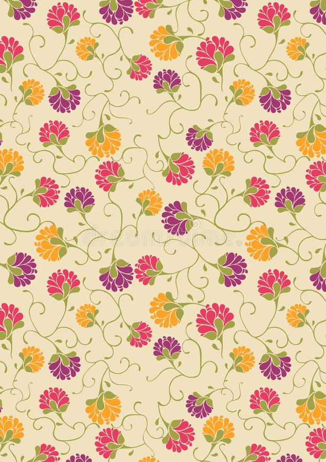 Orange purple and Red flower print / pattern vector illustration