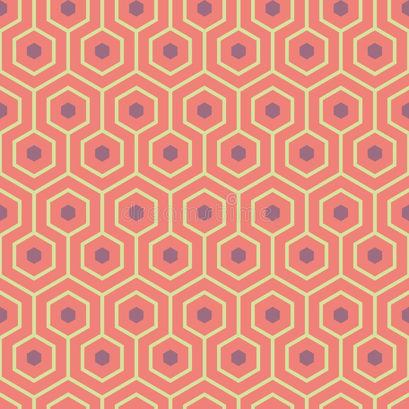 Orange, purple, yellow green meandering geometric hexagons. Seamless vector pattern with hot summer vibe. Great spa stock illustration