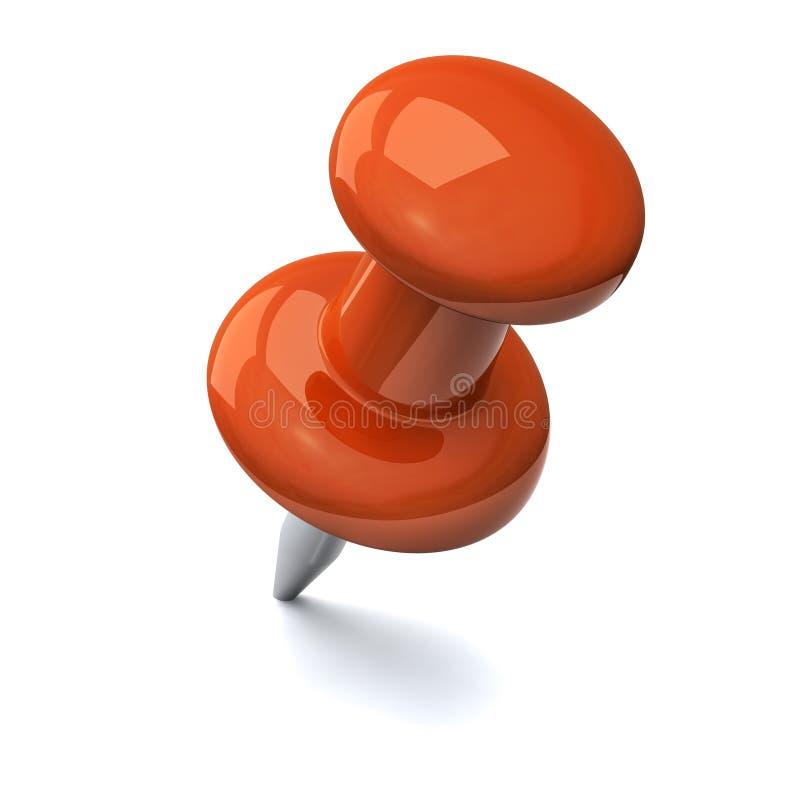 Orange push pin 3d stock image