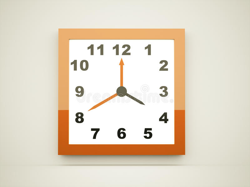 Orange quadratische Uhr lizenzfreie abbildung