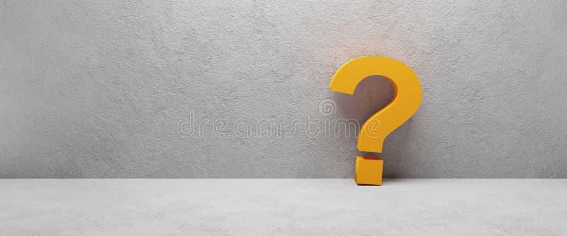Orange question mark laying at concrete wall - cgi 3d render image. Illustration vector illustration