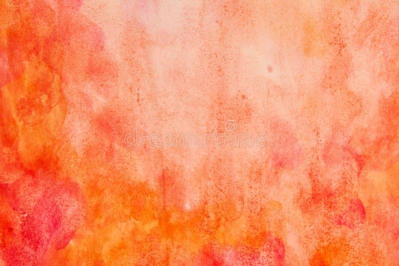 Orange rött vattenfärgabstrakt begrepp arkivfoto