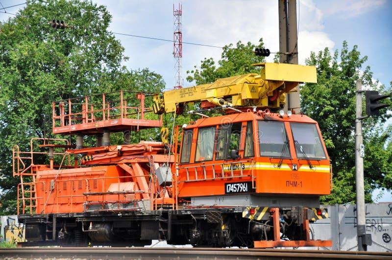 Orange railway locomotive royalty free stock photo