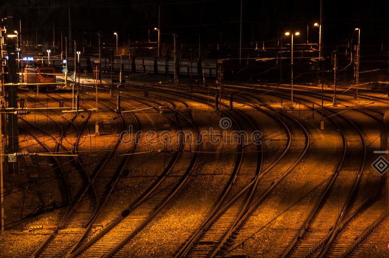 Railway station at night royalty free stock photography
