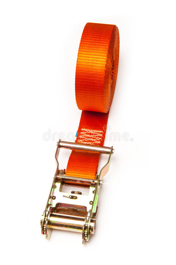 Orange ratchet strap stock photography