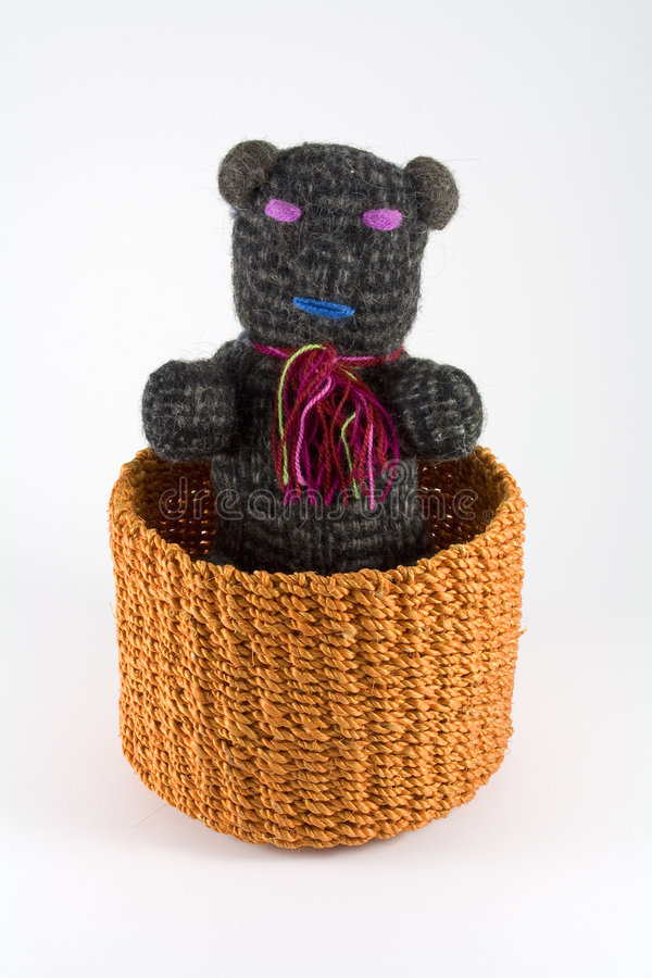 Download Orange Rattan Basket With Puppet Stock Image - Image: 7528913