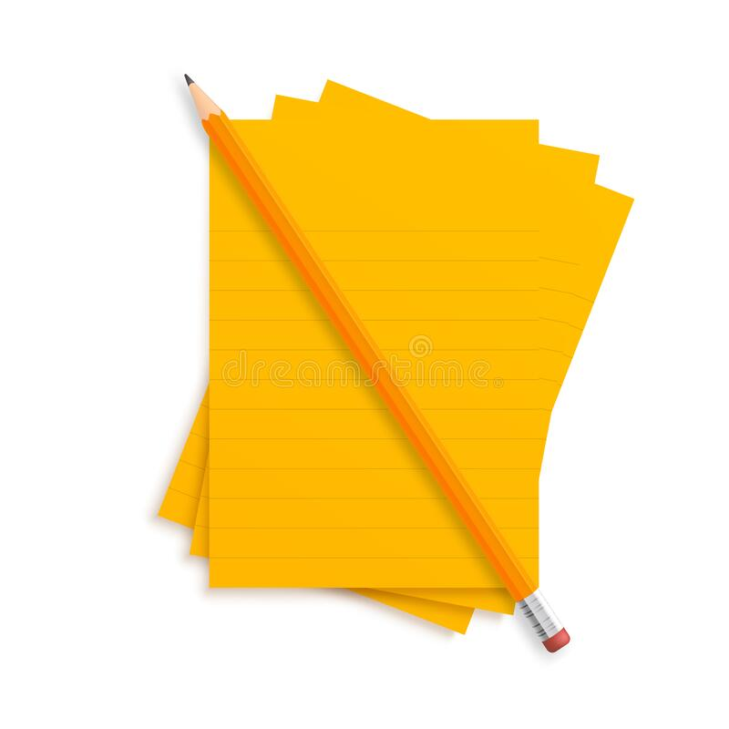 Orange realistic vector pencil lies with rubber and clips on a stack of lined paper stripes on a green school desk background.  stock illustration