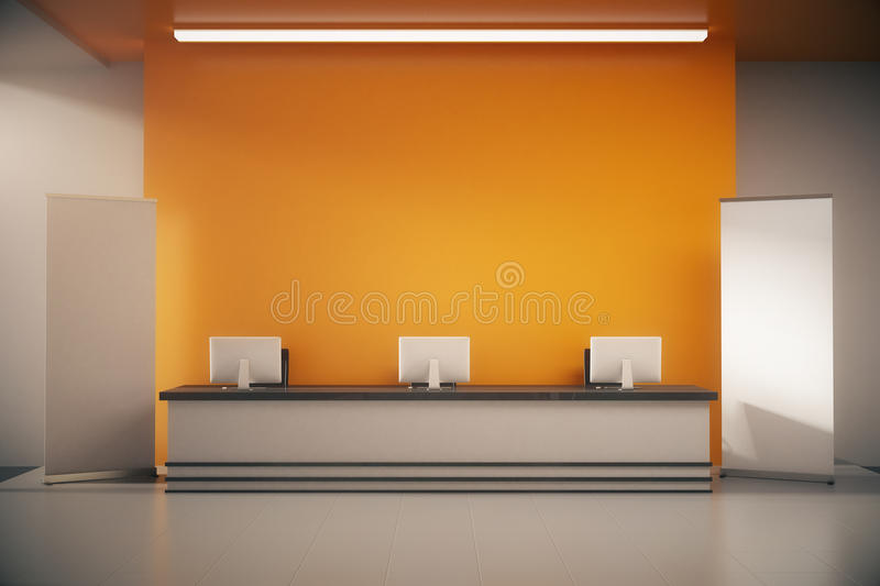Orange reception desk. Front view of orange interior with blank posters, empty wall and reception desk with computer monitors. Mock up, 3D Rendering stock illustration