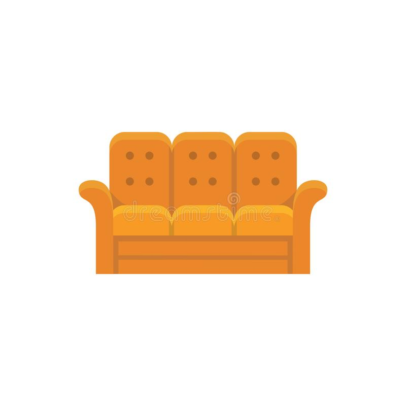 Orange recliner. 3 seaters sofa. Vector illustration. Flat icon. Of settee. Element of modern home & office furniture. Front view vector illustration