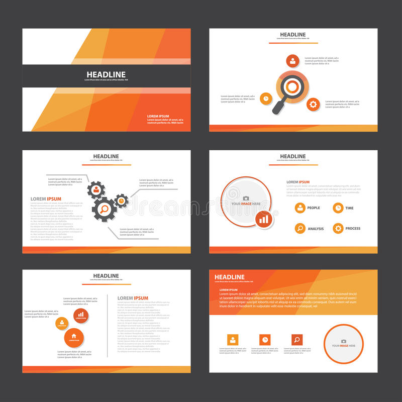 powerpoint brochure templates - orange red abstract presentation template infographic