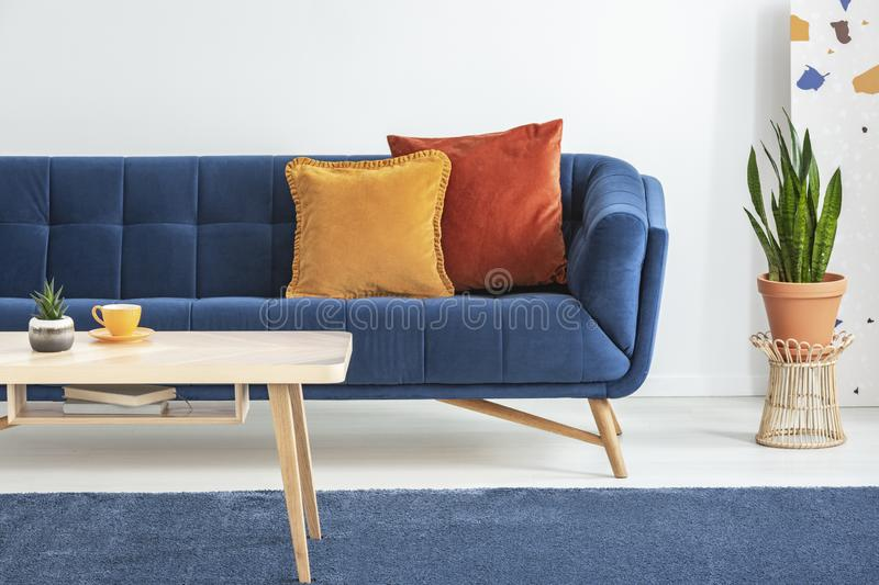 Orange and red cushions on a fancy, navy blue sofa and a basic, wooden coffee table on a blue rug in a white living room interior. Orange and red cushions on a stock photos