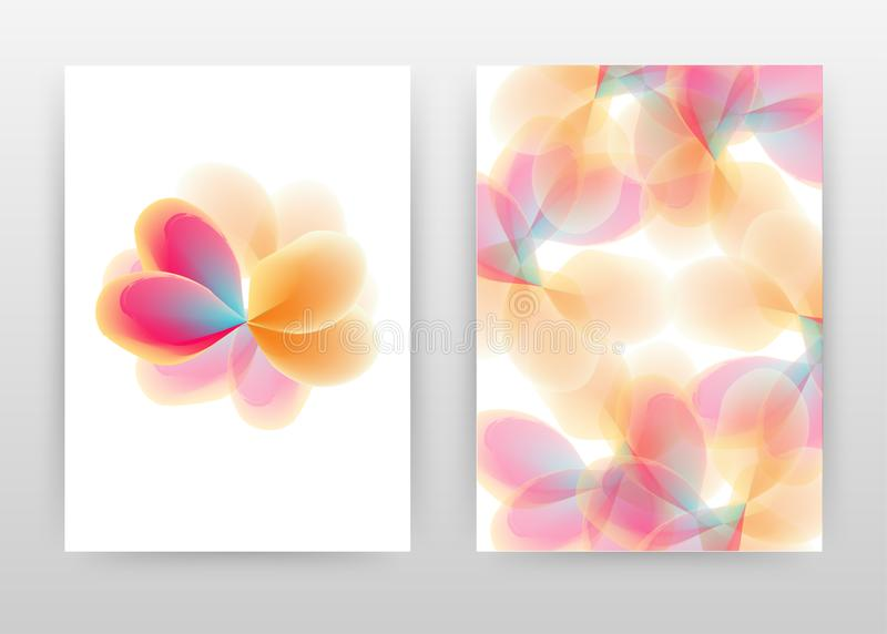 Orange red flower petal concept abstract design of annual report, brochure, flyer, poster. Colorful flower on white background. Vector illustration flyer royalty free illustration