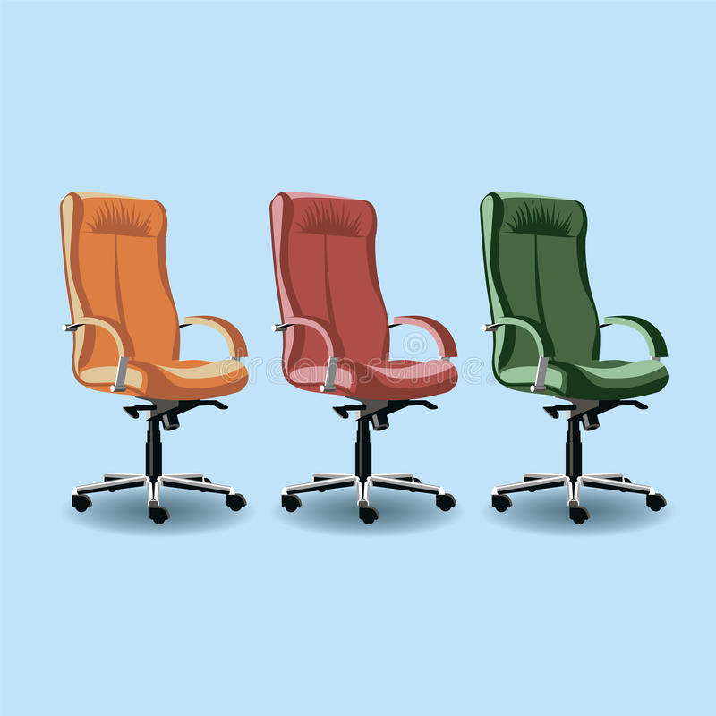 Orange, red and green leather comfortable chair stock illustration