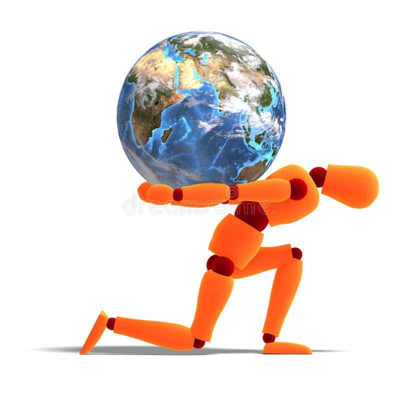 Orange / Red  Manikin Carries The World Stock Photo