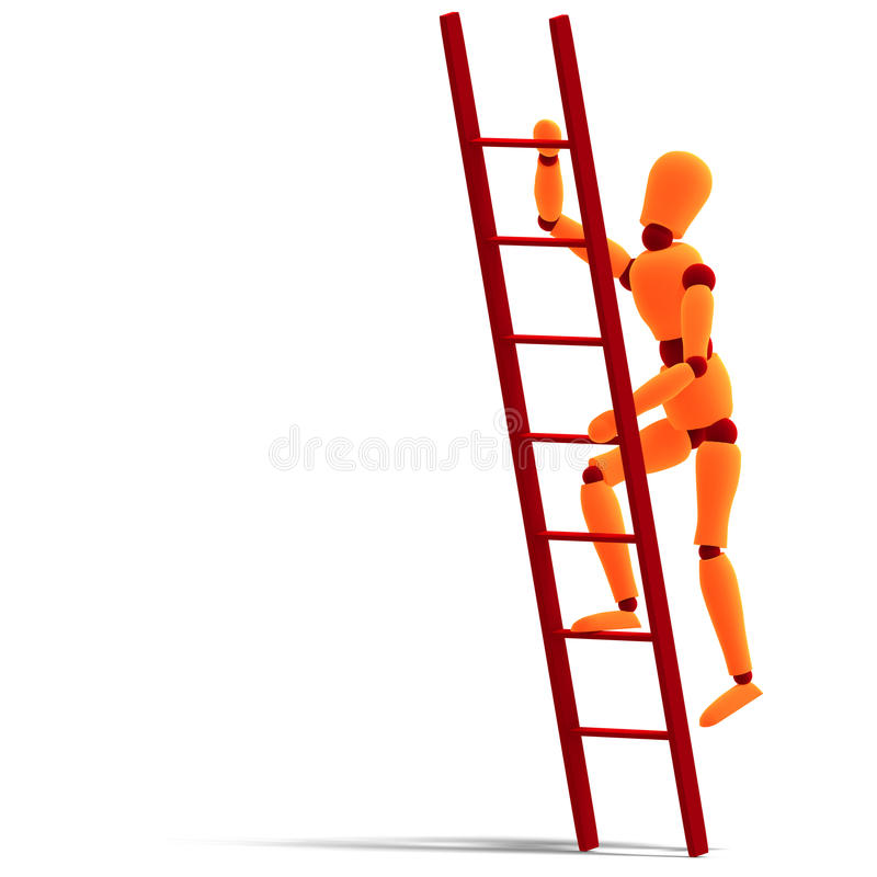Download Orange / Red  Manikin Climbing A Ladder Stock Photos - Image: 11012883