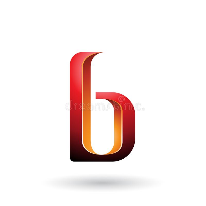 Orange and Red Shaded Letter B isolated on a White Background royalty free illustration