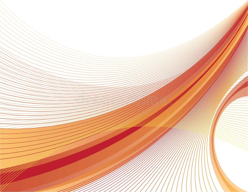 Orange and red swoosh. Design of a dynamic orange and red swoosh on white background stock illustration
