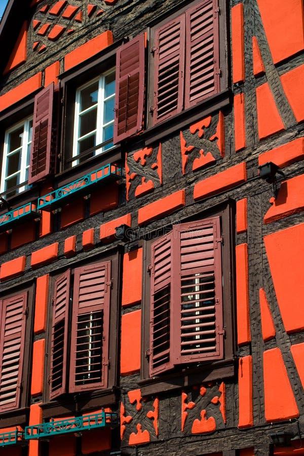 Download Orange Red Timber Frame House Stock Image - Image of wood, france: 13635969
