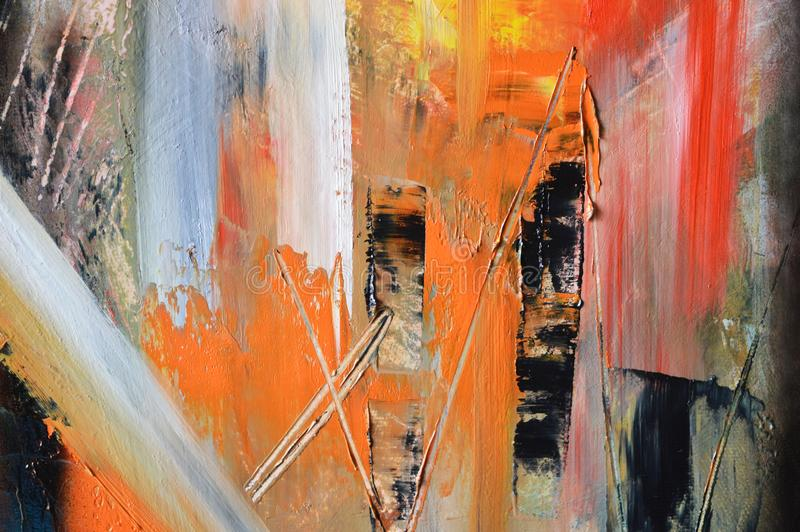 Orange, red and white oil painting royalty free stock image