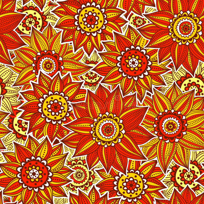 Orange And Rede Sunflower Pattern Royalty Free Stock Photography
