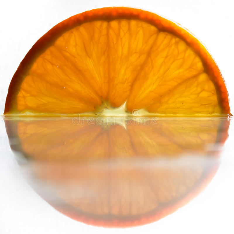 Orange with reflection stock photo