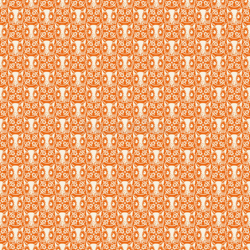 Free Orange Repeatable Halloween Owl Pattern Stock Images - 17632494