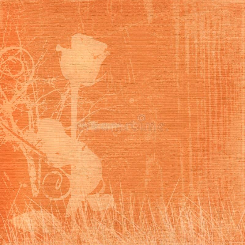 Orange retro background with beautiful rose stock illustration