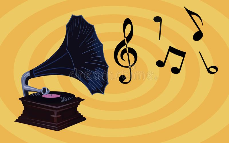 Retro Music Wallpaper - Old Gramophone with music notes, vintage phonograph with blue shade royalty free stock photos