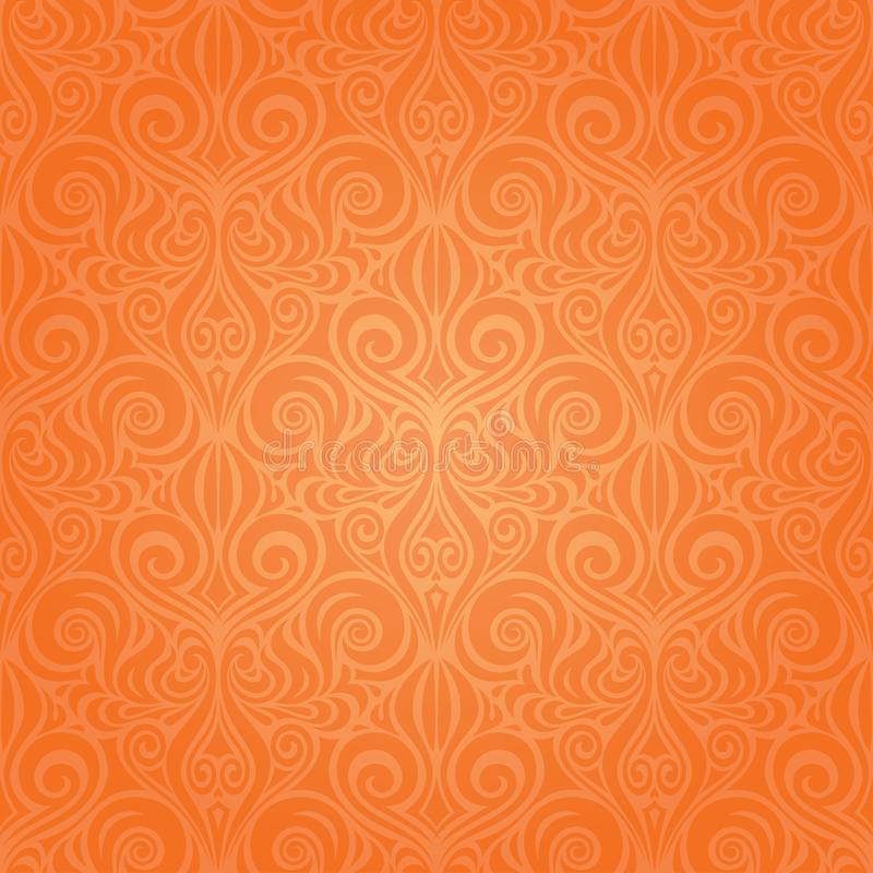 Orange Retro style colorful Floral repeatable wallpaper background vector illustration