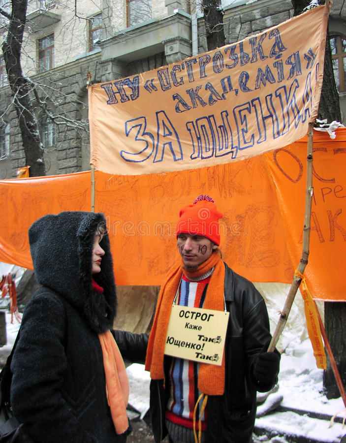 The Orange Revolution in Kyiv in 2004_18. Kyiv - Ukraine - December 2004. Image 10 years ago with the violent events of the Orange Revolution in Kiev in 2004 royalty free stock photo
