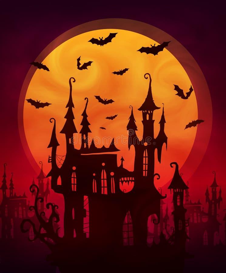 Orange riesiger Mond mit furchtsamen Schloss- und Schlägerschattenbildern auf dunkelrotem Hintergrund Vektorhalloween-Plakathinte vektor abbildung
