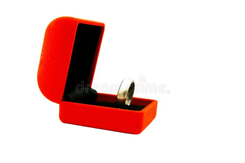 Orange ring box with silver ring isolated on white background. stock image