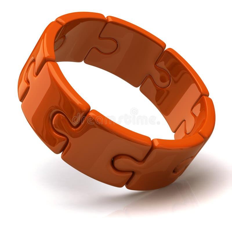 Orange Ring des Puzzlespiels 3d lizenzfreie abbildung
