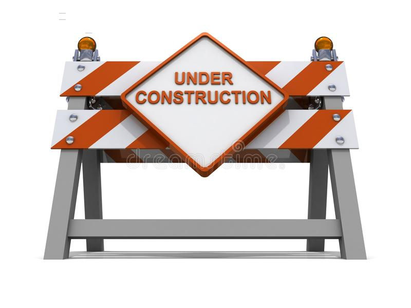 Orange road barrier under consruction. 3d shiny royalty free illustration